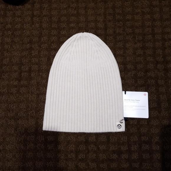 3c8e2587e90 Lululemon Wool be Cozy Toque Hat Light Beige Tan